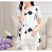 blusa suelta de poliéster para mujer - estampado floral