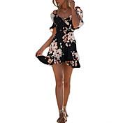 Mujer Playa Festivos Chic de Calle Delgado Corte Bodycon Vestido Floral Alta cintura Mini Hombros Caídos Negro