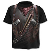 Hombre Chic de Calle / Militar / Exagerado Tallas Grandes Estampado - Algodón Camiseta 3D / Manga Corta