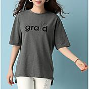 Mujer Algodón Camiseta Corte Ancho Letra