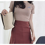 Mujer Básico Bordado Camiseta Un Color