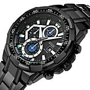Hombre Reloj Deportivo Calendario / Reloj Casual Acero Inoxidable Banda Lujo / Cool Negro / Plata