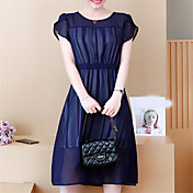 Mujer Básico Gasa Vestido Midi