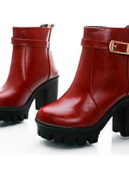 Feminino Sapatos Pele Napa Couro Ecológico Outono Inverno Plataforma Básica Coturnos Botas Rasteiro Botas Curtas / Ankle Para Casual