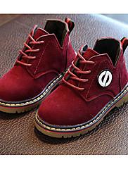 Para Meninas sapatos Camurça Outono Inverno Conforto Coturnos Botas Para Casual Preto Marron Vinho