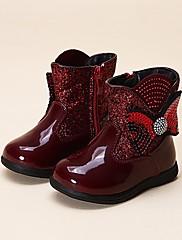 Para Meninas sapatos Courino Inverno Conforto Mocassins e Slip-Ons Para Casual Preto Prata Vermelho