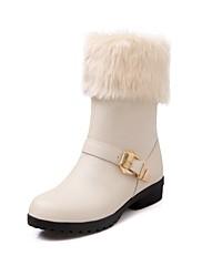 Damer Sko Kunstlæder Efterår Vinter Modestøvler Støvler Tyk hæl Rund Tå Ankelstøvler Spænde Til Afslappet Formelt Sort Beige Rød