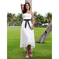 cheap Little White Dresses-A-Line Strapless Tea Length Chiffon Custom Wedding Dresses with Sash / Ribbon by LAN TING BRIDE®