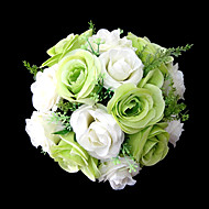 "Wedding Flowers Round Roses Bouquets Wedding Party/ Evening Satin Green 9.84""(Approx.25cm)"