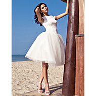 cheap Little White Dresses-Ball Gown Bateau Neck Knee Length Satin Tulle Custom Wedding Dresses with Draping by LAN TING BRIDE®
