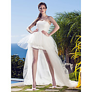 Princess Strapless Asymmetrical Tulle Made-To-Measure Wedding Dresses with Appliques by LAN TING BRIDE® / Little White Dress