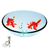 Tempered Round Glass Vessel Transparent Sink With Pop up and Mounting ring