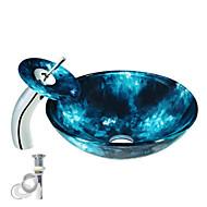 Χαμηλού Κόστους Περιλαμβάνεται Βρύση-Σύγχρονο Κυκλικό νεροχύτη Υλικό είναι Σκληρυμένο Γυαλί Κρίκος πετσετών μπάνιου Αποχέτευχη Νερού Κουζίνας