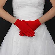 abordables Meilleures Ventes-Polyester Soie Longueur Poignet Gant Classique Gants de Mariée With Couleur Unie