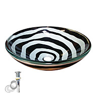 preiswerte Moderne Aufsatzwaschtische-Moderne Rundförmig Material der Becken ist Hartglas Einbauring für Badezimmer Wasserablass für die Küche
