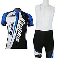 Kooplus Cykeltrøje og shorts med seler Herre Unisex Kortærmet Cykel Shorts med seler Trøje Forede shorts Tøjsæt Hurtigtørrende Forside