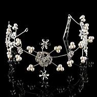 billiga Brudhuvudbonader-handgjorda kristall ros huvudstycke bröllop brud