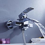お買い得  クローム Series-コンテンポラリー バスタブとシャワー 滝状吐水タイプ with  セラミックバルブ 二つ シングルハンドル二つの穴 for  クロム , シャワー水栓 浴槽用水栓