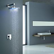 billige Sprinkle®-kraner-Moderne  with  Krom Enkelt Håndtak To Huller  for Veggmontering LED