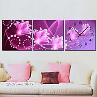 billige Veggklokker-Moderne canvas veggklokke med blomstermotiv – sett på 3