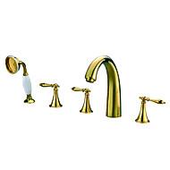 お買い得  浴槽用蛇口-コンテンポラリー バスタブとシャワー ハンドシャワーは含まれている 組み合わせ式 with  セラミックバルブ 五つ 3つのハンドル5つの穴 for  Ti-PVD , 浴槽用水栓