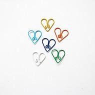 halpa -sydän kuvio muovi kääritty paperiliittimet (10kpl satunnaisia värejä)