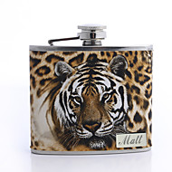cheap Personalized Drinkware-Personalized Father's Day Gift Leopard Print 5oz PU Leather Flask