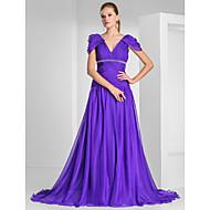 A-linje / Prinsesse V-hals Børsteslæb Chiffon Formel aften Kjole med Perlearbejde / Drapering / Kryds & Tværs ved TS Couture®
