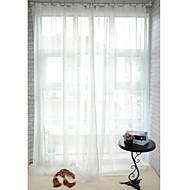 baratos Cortinas Transparentes-Dois Painéis Tratamento janela Moderno , Sólido Sala de Jantar Poliéster Material Sheer Curtains Shades Decoração para casa For Janela