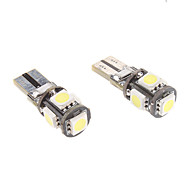 T10 1ワット5x5050smd白色光は、自動車機器/サイドマーカーランプCANBUS(12V、1ペア)のための電球を導いた