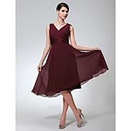 А-силуэт V-образный вырез До колена Шифон Платье для подружек невесты с Рюши от LAN TING BRIDE®