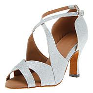 Women's Latin Salsa Ballroom Sparkling Glitter Heel Buckle Customized Heel Black Red Silver Gold Customizable