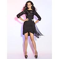 Tubinho Bateau Neck Curto / Mini Chiffon Paetês Coquetel Vestido com Franzido Fru-Fru de TS Couture®