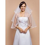 Two-tier Ribbon Edge الحجاب الزفاف Elbow Veils مع حجر كريم 31،5 في (80cm) تول خط-A، فستان عامودي، أميرة، فساتين متاناسقة الشكل عمودية، فساتين حورية البحر / كلاسيكي