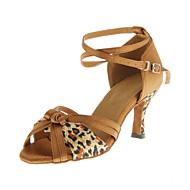 cheap Dance Shoes-Women's Latin Ballroom Leatherette Heel Buckle Customized Heel Leopard Customizable