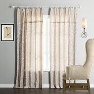 cheap Curtains Drapes-Rod Pocket Grommet Top Tab Top Double Pleat Two Panels Curtain Neoclassical, Jacquard 55% Cotton/45% Linen Linen / Cotton Blend Material