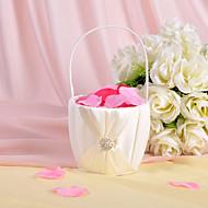 blomster kurv i elfenben satin med rhinestones og sash bryllup ceremoni