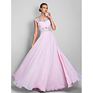 cheap Prom Dresses-A-Line Illusion Neckline Floor Length Chiffon Prom / Formal Evening / Military Ball Dress with Beading Criss Cross by TS Couture®