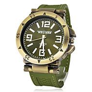 お買い得  軍用腕時計-男性用 クォーツ リストウォッチ 軍用腕時計 カジュアルウォッチ シリコーン バンド チャーム ブラック グリーン