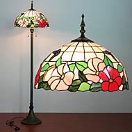 Floral Pattern Floor Lamp, 2 Light, Tiffany Resin Glass lakkeringsmetode