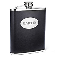 cheap Personalized Drinkware-Personalized Father's Day Gift Black 8oz PU Leather Capital Letters Flask