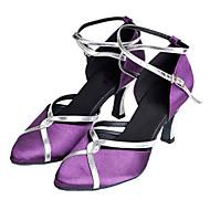 cheap -Women's Modern Shoes / Ballroom Shoes Satin Heel Customized Heel Non Customizable Dance Shoes Purple