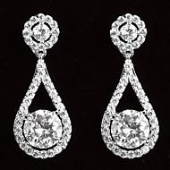 Elegant platinert Med Zirkon dråpeformede kvinner Drop Earrings