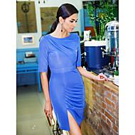 TS Asymmetric plissados vestido magro