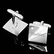 billige Personaliserte antrekktilbehør-Personlig gave Squared Sølv med gravering Mansjettknapper med Rhinestone