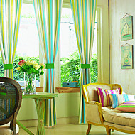 To paneler Window Treatment Land , Stribe Soverom Poly/ Bomull Blanding Materiale gardiner gardiner Hjem Dekor For Vindu