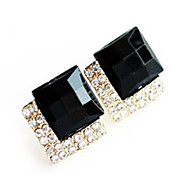 Syntetyczny szafir Czarny kamień szlachetny Kolczyki sztyfty Imitacja diamentu Kolczyki Luksusowy Europejskie Moda Biżuteria Na Impreza Codzienny Casual