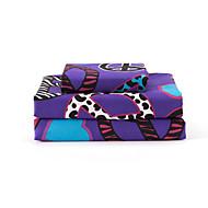 """12 """"ポケット深紫色シートセット、4ピースのマイクロファイバー、モダンスタイルのハート反戦パターン"""