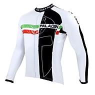 ILPALADINO رجالي كم طويل جورسيه الدراجة - أبيض أسود الدراجة جورسيه قمم الدفء متنفس سريع جاف رياضات 100 ٪ بوليستر دراجة جبلية دراجة الطريق ملابس / الأشعة فوق البنفسجية مقاوم