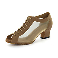 cheap Modern Shoes-Women's Modern Ballroom Leatherette Sandal Chunky Heel Black Gold Customizable